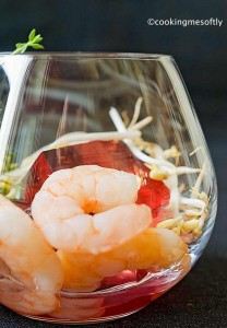 Rosato jelly with tails prawns and sprouts