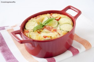 Tomatoes and courgettes clafoutis