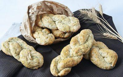 Aromatic herbs braided potatoes bread