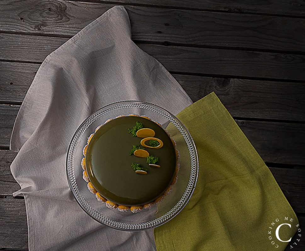 Pistachio and passion fruit entremets