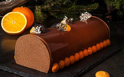 Nougat, chocolate and orange Yule Log