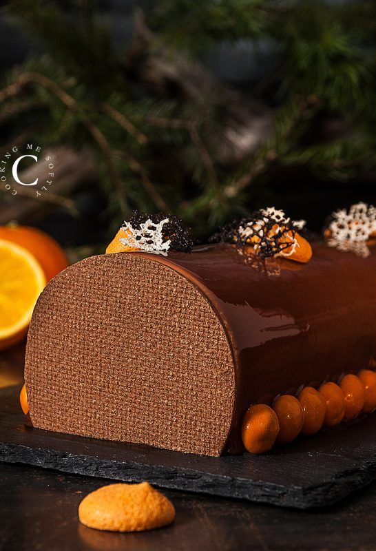 Bûche torrone, cioccolato e arancia