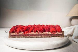 Crostata ai lamponi e suprème di cioccolato e mascarpone