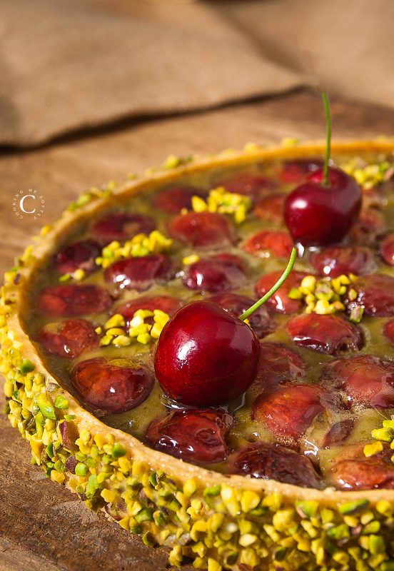 Cherries and pistachio clafoutis tart