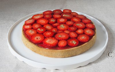 Strawberries, pistachio and vanilla tart