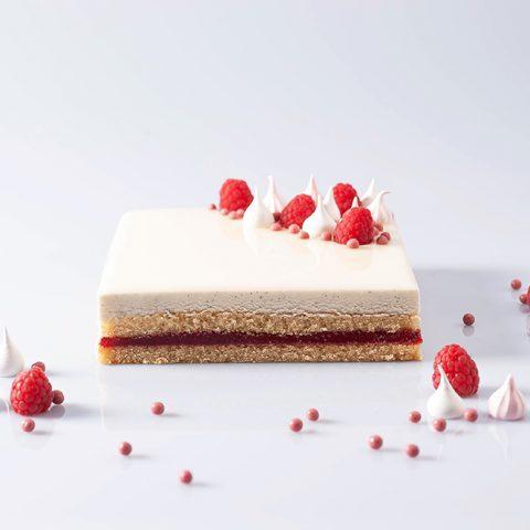 Entremet vaniglia e lamponi